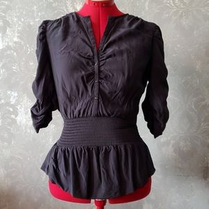 Jacob 100% silk black blouse size M